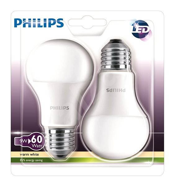 Philips LED 9-60W E27, 2700K, Mléčná, set 2ks
