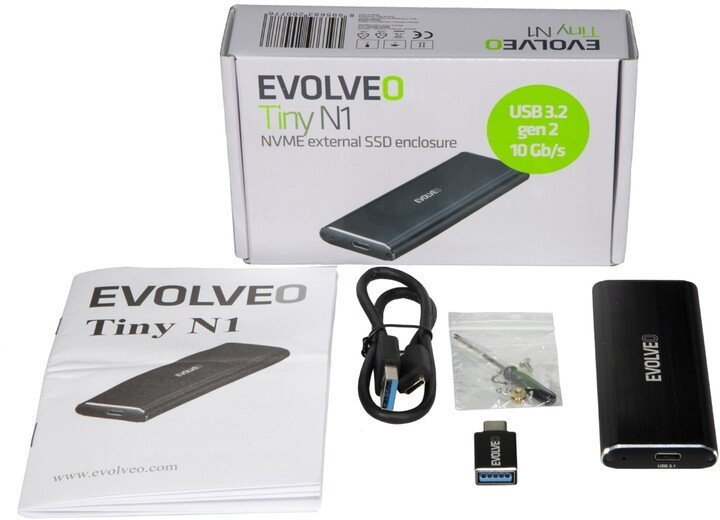 Evolveo Tiny N1, M.2 NVMe, USB 3.1